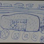 On the left is a child's residence. He lives on the 3rd floor. There's a hotel around his home, and a garbage truck parked in between. There are placards to both sides of his building.  This little girl lives in a car parked near Qianmen with a relative. Above her car, she has drawn the street and the cars on the street. Around the car are some bugs (bottom right is an ant) and the sun.